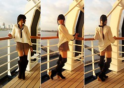 Josephine Chang - H&M White Chiffon Tunic, H&M Light Brown Pleated Shorts, Forever 21 Grey Dotted Black Over The Knee Socks, Forever 21 Brown Knee High Wedges - Lies to Conceal the Truth