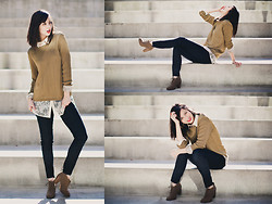 Chesley Tolentino - Vintage Sweater, H&M Lace Blouse, H&M Jeans, Forever 21 Booties - Earthy Elegance