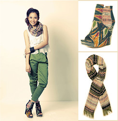 Shai Lagarde - Aldo Tribal Print Wedges And Scarf, Cps Chaps Top, Human Carrot Pants, Aldo Bracelet - Tribal Christmas