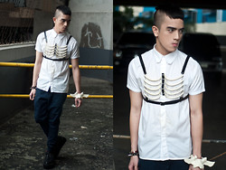 Paul Jatayna - Os Ribcage Harness, Oxygen Buttondown Shirt, Os Bone Shackle - ♕SKELETONSCHOOLBOY♕