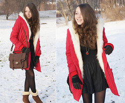 Gabriela Grębska - Sheinside Red Coat, Asian Icandy Bag, U.S Polo Boots, H&M Black Skirt - I'm Santa Claus