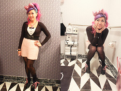 "Stephiee Nguyen - Chubby Bunny Metallic Pink Sanrio Bow, Cicely Margo, Locketship, Tarina Tarantino Misc Pink Rings, Target Tuxedo Bodysuit, Seoul, Korea Lacey Bow Belt, Junk For Joy (Burbank, Ca) Pink Sequined Skirt, Tokyo, Japan Floral Stockings, Jeffrey Campbell ""Zup"" Pink Corset Lacing Wedges, Cameo The Label Lolita Pink Head Necklace - A Night Out...or In"