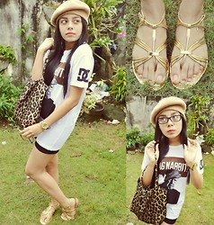 Amira Alma'ani - Vintage Gold Bow Bracelet, Local Store Cat Eye Glasses, Dc Shoes Rob Dyrdek's Anti Cursing Dagnabbit Tee, Vintage French Beret, Local Store Bicycle Shorts, Céline Gold Flats, Local Store Leopard Tote, Tomato Zebra Metallic Wrist Watch - DAG NABBIT*