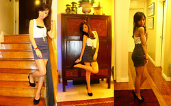 Aoi Ue Imperial - Forever 21 Lace Racerback, Holded & Hung Navy Paneled Skirt, Serpentine Necklace, Black Pumps, Gold Chain Bracelet - Merry Christmas, Lookbook! :D