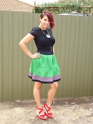 Sarah Zed - Cue Green Skirt, Cue Shoulder Padded Lace Top, Miss Shop Red Platform Wedges - Christmas outfit 2011