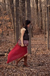 Jane Greenwich - Brandy Melville Usa Skirt, J.Crew Boots, Jimmy Choo Clutch, Vintage Ruffled Blouse, Dorme Studded Leather Vest - Red Riding.
