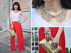 Bea Benedicto - Gold Collar Necklace, Greenhills Woven Palazzo Pants, Gift Sequined Purse - Santa's Little Girl