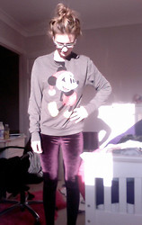 Amelia Orchard-Smith - Primark Mens Jumper, Topshop Leggings - Even Mickey celebrates christmas, betcha.