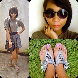 Nica U. - Greenhills Vintage Sunnies, Grendha Flats, Bershka Leopard Skirt, Parisian Satchel - Won't Go Home Without You