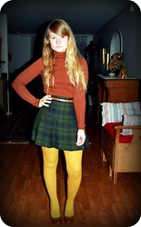 Linnéa B - Thrifted @ Myrorna Plaid Green & Blue Skirt, Monki Mustard Tights, Kappahl Tan/Brown Belt, Thrifted @ Myrorna 40's Style Shoes (Brown), Atmosphere Orange Y Brown Turtleneck - School uniform and inches