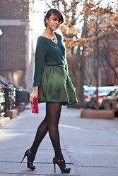 Delmy Rivera - Bdg Sweater, H&M Skirt, J. Crew Glitter Belt, J. Crew Suede Clutch, Yves Saint Laurent Tribute Sandals - Green And Gold