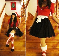 Josephine Chang - Target Red Dress, Forever 21 White Bowed Tulle Skirt, Target Red And White Striped Faux Fur Socks - Red Misery