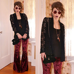 Claudia - Ebay Sunglasses, I.N.C. Lace Cardigan, Asos Velvet Purse, Urban Outfitters Crushed Velvet Pants - Draw Me Nancy! (The Easy Rider's Soft Side)