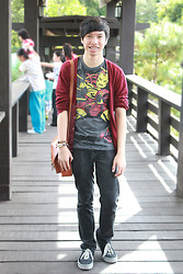 James Jason Martin - Folded & Hung Iron Man Shirt, Forever 21 Red Woven Cardigan, Thrifted Tribal Bracelets, From A Friend Tan Satchel Bag, Penshoppe Black Rugged Jeans - The Iron Man of your life