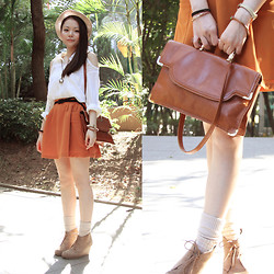 Yuki Lo - Korea Cold Shoulder Shirt, Cherrykoko Skirt, Asos Wedges, Vintage Bag - Sitting Waiting Wishing
