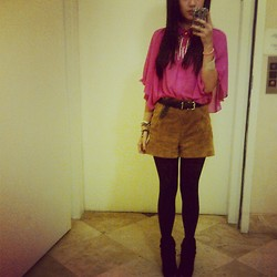 Ashley Romero - Foreign Exchange Sheer Pink Blouse, Forever 21 Suede Shorts, Bcbg Open Toe Booties - Pretty in pink