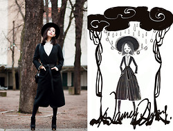 Nancy Zhang - Marc By Jacobs Coat, Marc Cain Shirt, Malene Birger Hat - Black and White.