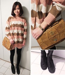 Anne - Korean Brand Oversized Jumper, Vintage Bag, Guess? Watch, Strass Leather Ankle Boots - Draw me Nancy ! #2