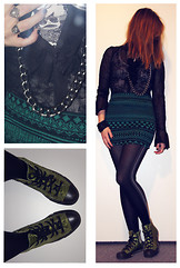 Amy P. - Urban Outfitters Green And Black Skirt, H&M Black And White Comic Top, Patrizia Pepe Sheer Black Lacy Button Down, Vintage Tights, Converse Green Silky Embroidered Shoes - Forest Greens