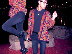 Steven Reeder - Thrifted Vintage Cardigan, Hot Topic Skinny Jeans, Thrifted Combat Boots - Bright lights and sorrow nights
