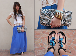 Cheyser Pedregosa - Soul Accessories, Island Girl Black Strappy Flats, Soul Crochet Top, Soul Animal Print Clutch - Gypsy Flare