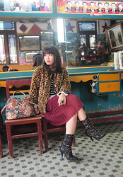Tamiko Chan - H&M Leopard Fur Coat, Lowrys Farm Stripes Knit Top, Snidel Lace Up Boots, Ebay Floral Vintage Look Tapestry Handbag - I love guangzhou lol