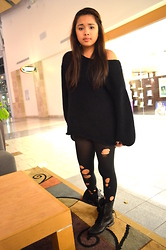 Kat Guerrero - Topshop Sweater, Diy Tights, Steve Madden Combat Boots - Holy Legs