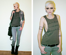 Coco Mayaki - H&M T Shirt, H&M Shirt, H&M Gray Jeans, H&M Bag - The girl with... tattoo.