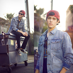 Adam Gallagher - Vans Red Cap, Jean Jacket, Secon Hand The Who Tee - Denim & ruby