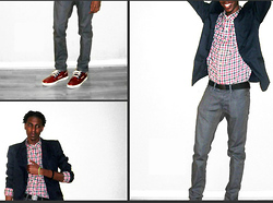 Shawn Maleek .. - Polo Ralph Lauren Lander Chukka Sneaker, Polo Ralph Lauren Plaid Button Down, H&M Navy Blazer, Gap Greay Drop Crotch Skinnys - The pursuit of happyness.
