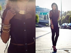 Sheryl L - Forever 21 Velvet Leggings, H&M Sheer Mesh Shirt - BLACK VELVET @ WALK IN WONDERLAND