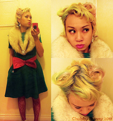 Chubby Bunny Michelle - Vintage Fur Stole, Vintage Green Wool Dress, H&M Red Bow Belt - Vintage Christmas