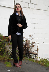Cee F. - J. Crew Blazer, J. Crew Sweater, Moon Raven Designs Necklace, Jacob Blouse, Gap Skinnies, Zara Boots - Plain and Simple