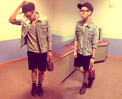 Adrian Jiun - Vintage Bag, H&M Turtle Shell Glasses, Topman Classic Denim Jacket, H&M Black Cap - Denim Rocks!