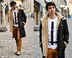 James Vyn - Zara Furry Leather Coat, Youreyeslie Cross T Shirt, Zara Pants - I feel like a Grizzli !
