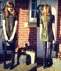 Lauren Park - River Island Bronze Metallic Shift Dress, Primark Green Leather Heeled Loafers, Vintage Suitcases, Eclectic Eccentricity Seeing Stars Necklace - She's Leaving home...