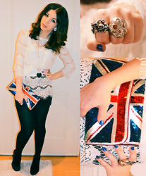 Julia Jusslin - Zara Lace Shirt, Acsessorize Flag Bag, Bianco Black Pumps, Gina Tricot Skull Rings - HAPPY NEW YEAR