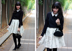Fashion Pea - Dina Glass Full Skirt, Zara White Collar Blouse, Vintage Purse - White collar