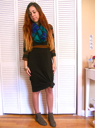Regina Phalange - Steve Madden Ankle Boots, Black Maxi Skirt, Thrifted Striped Sweater, Forever 21 Plaid Scarf - Day 365