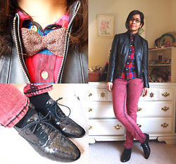 Julie Benitez - Sam Edelman Sequined, Jcpenney Red And Blue And Black Plaid, Pelle Studio Leather - All things plaid and beautiful