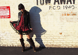 Josephine Chang - Someplace In Italia Black Pleather Jacket, Victoria's Secret Black And Red Plaid Ruffle Tunic, Wet Seal Black Ruffle Underskirt, Forever 21 Brown Wedge Boots - Celebrating the Inevitable