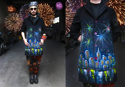 Andre Judd - Glittered Wedge Flatforms, Roundneck Tee, Handpainted Fireworks Coat, Fireworks Print Trousers, Silver Spangled Beanie, Fireworks Inspired Crystal Cuff, Colored Stone Rings - HAPPY NEW YEAR:)!!!!!!!!!!!!!!!!!!!!!!!!!!!!!!!!!!!!!!!!