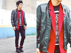 David Guison - Thrifted Red Blazer, Forever 21 Leather Jacket, Topman Sweater, Topman Pants, Topman Socks, Caterpillar Boots - New Year's Eve
