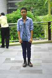 CP Garcia - Zara Denim Shirt, Bench Tank Top, Bench Navy Blue Chinos, Dr. Martens Boots, Aldo Feather Necklace - FIRST LOOK OF 2012