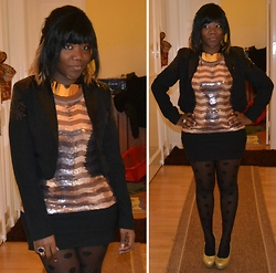 Diane A - Sequin Top, H&M Gold Choker, H&M Dotted Tights - Gold much? / HNY!