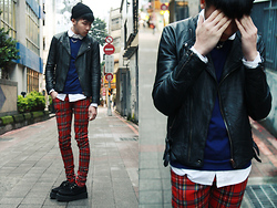 Nick Lai - Asos Black Tiny Beanie, Secret Service Knight Leather, Uniqlo Sweater, Tripp Nyc Tartan Skinny Trousers, Underground Creepers - 010112 / Dead is dead , HNY.
