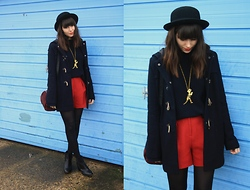 Sarah B - Duffle Coat, Red Shorts - Blue, Red & A Dinosaur