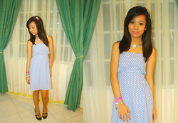 Aoi Ue Imperial - Gingersnaps Blue Shell Necklace, Zara Brown Mary Janes, Swatch Pink Watch (My Tita's) =)), Accesorize Blair Waldorf's Ribbon. =)))) :, Tl Blue And White Polka Dot Dress - Blue & White and a Ribbon: Damn, so girly.