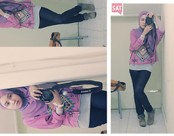Siti Juwariyah - Forever 21 Sweater, Zara Ankle Boots, Cotton On Navy Jeans, Kaffah Scarf - Purple Indian