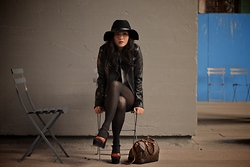 Jane Greenwich - Moda Leather Jacket, Ralph Lauren Tights, Barbour Hat, Vintage Platforms, Louis Vuitton Speedy Bag - The High Line.